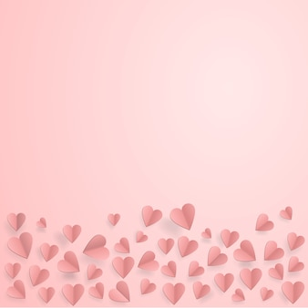 Coeurs sur fond d'amour abstrait avec du papier coupé coeurs