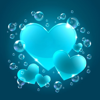 Coeurs sur fond bleu