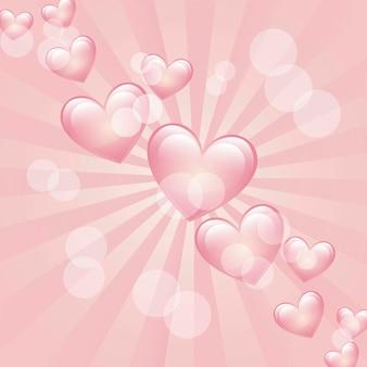 Coeurs sur fond rose vecteur illlutration