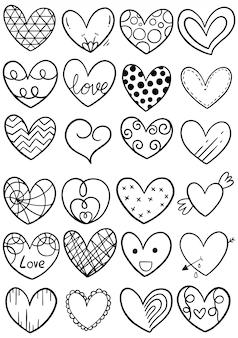 Coeurs de gribouillis dessinés à la main