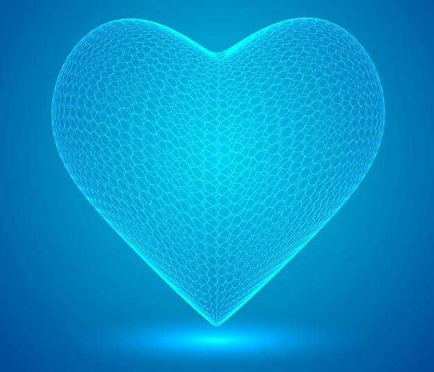 Coeurs hexagonaux 3d sur un symbole de fond coloré de l'amour et de la santé du cœur