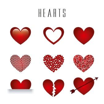 Coeurs isolés sur fond blanc vecteur illlutration