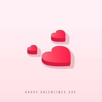 Coeurs isométriques avec ombre sur fond rose