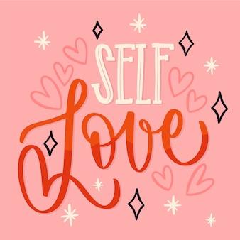 Coeurs et lettrage de texte d'amour de soi