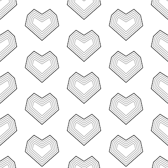Coeurs de ligne géométrique de modèle sans couture au mariage de la saint-valentin texture noir et blanc