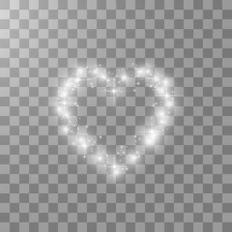 Coeurs avec lumière, étoiles sur fond transparent. .
