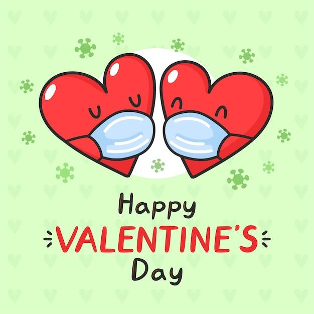 Coeurs mignons dans les masques médicaux et virus corona. carte de la saint-valentin heureuse.