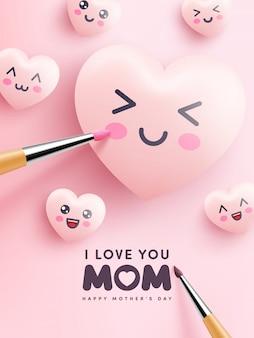 Coeurs mignons et émoticône dessin animé peinture rose