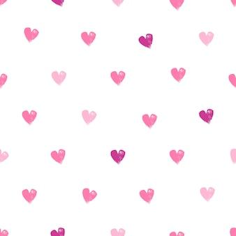 Coeurs sur modèle sans couture de fond blanc. texture dessinée à la main.