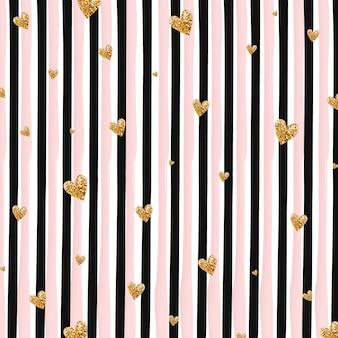 Coeurs d'or et fond de rayures verticales