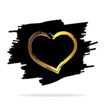 Coeurs d'or. pinceaux coeurs dessinés à la main. forme de coeur peinte à la main. symbole de l'amour cartes de mariage de la saint-valentin. illustration vectorielle
