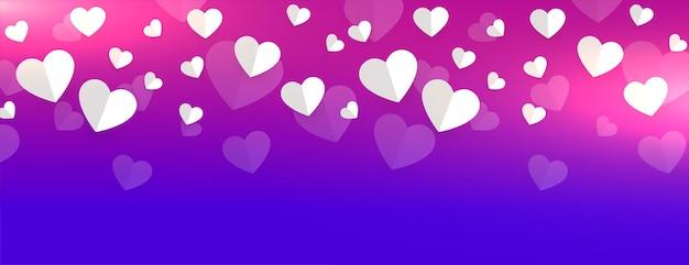 Coeurs de papier romantique belle conception de bannière