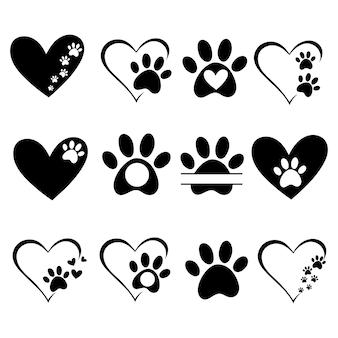 Coeurs avec les pattes des chiens et des chats empreintes de pattes chien chiens d'amour symbole d'amour animal