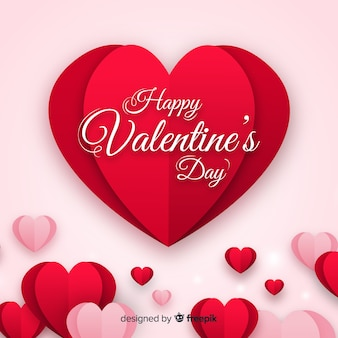 Coeurs pliés fond valentine