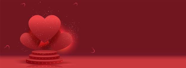 Coeurs sur podium 3d décoré de particules d'or sur fond rouge.