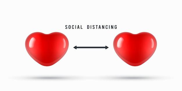 Coeurs pour l'illustration de l'avis de distanciation sociale