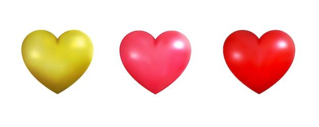 Coeurs réalistes de couleurs or, roses et rouges. décorations de coeurs brillants