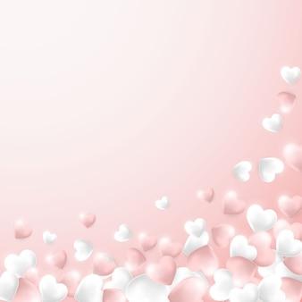 Coeurs roses et blancs sur fond rose clair