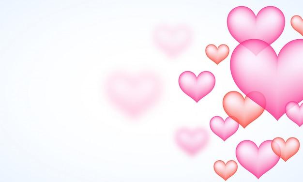 Coeurs roses brillants décorés de fond blanc