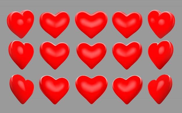 Coeurs rouges 3d tournent tournent 15 degrés