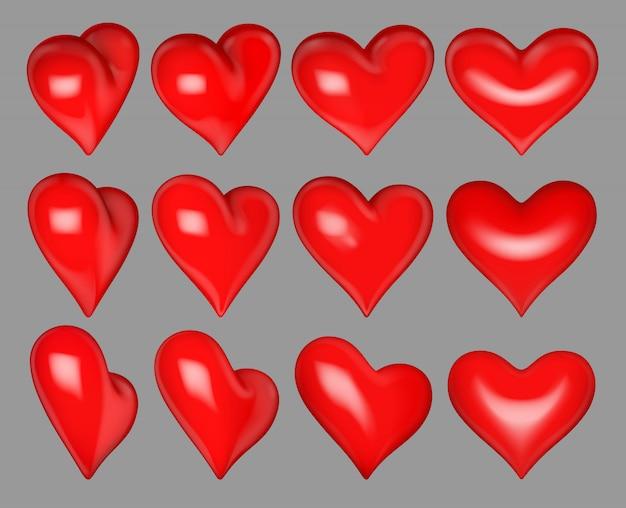 Coeurs rouges brillants 12 angles de rotation différents sur fond gris