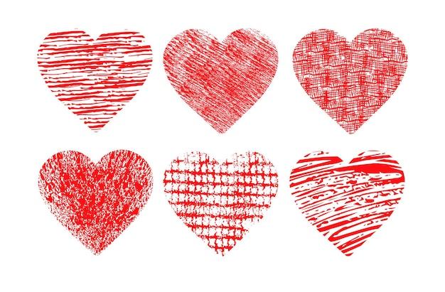 Coeurs rouges dans le style grunge saint valentin célébration amour bannière flyer ou carte de voeux horizontal