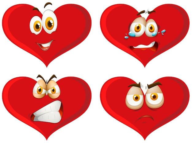 Coeurs rouges avec des expressions faciales
