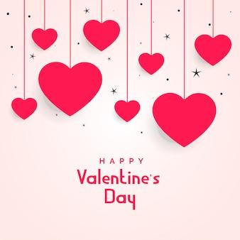 Coeurs suspendus avec étoiles pour la saint valentin