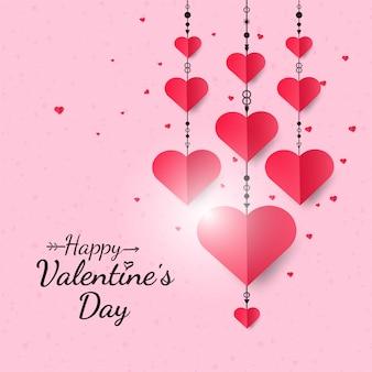 Coeurs suspendus fond saint valentin heureux