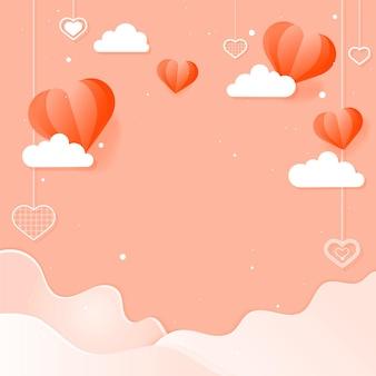 Coeurs suspendus nuage vague fond de pêche