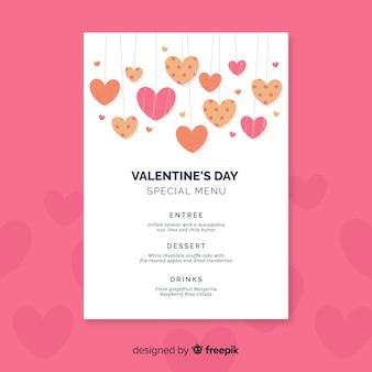 Coeurs suspendus valentine menu