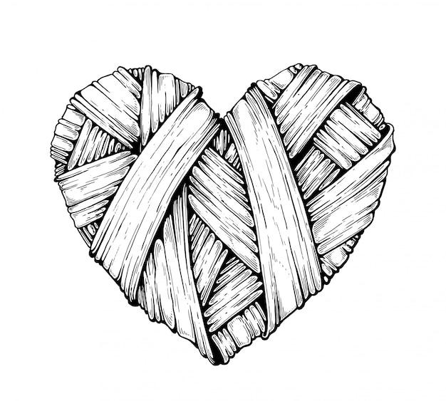 Coeurs tricotés. graphique.