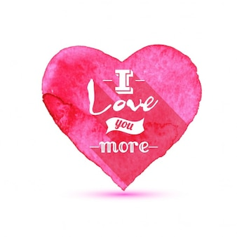 Coeurs valentine background aquarelle avec lettrage