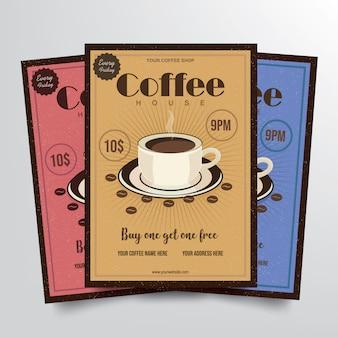 Cofee house flyer template vecteur