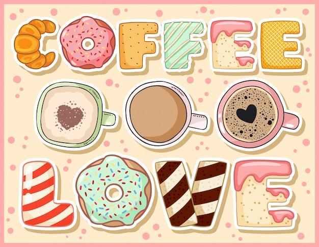Coffee love mignonne carte postale drôle avec des tasses de café.