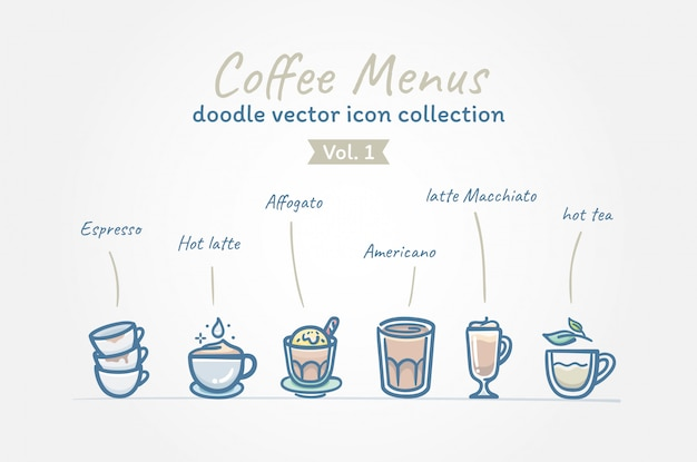 Coffee menus doodle collection d'icônes vectorielles