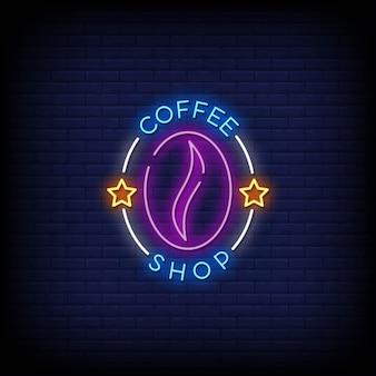 Coffee shop logo néon signes style texte