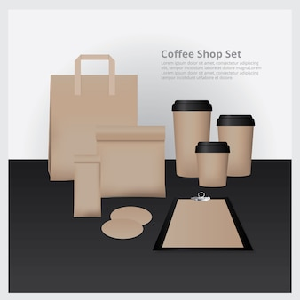 Coffee shop set mock up illustration vectorielle
