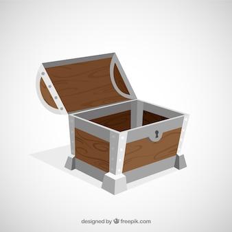 Coffre au trésor antique avec un design plat