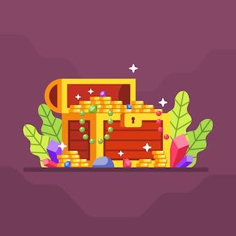 Coffre au trésor avec beaucoup de pièces de monnaie et de diamants