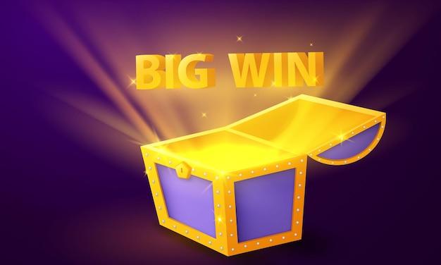Coffre au trésor big win casino luxury vip celebration party fond de bannière de jeu.