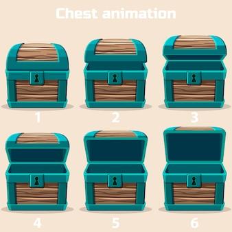 Coffre au trésor en bois d'animation