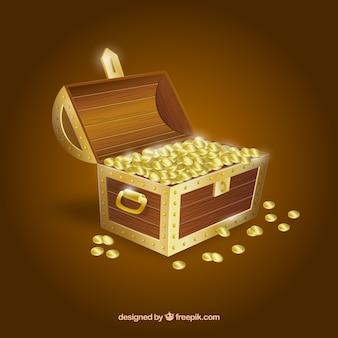 Coffre au trésor en bois avec un design réaliste