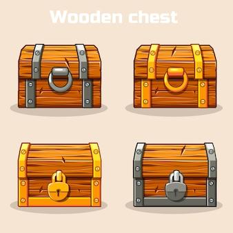 Coffre au trésor en bois fermé