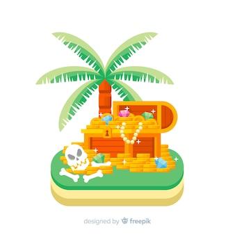 Coffre au trésor sur fond d'île tropicale