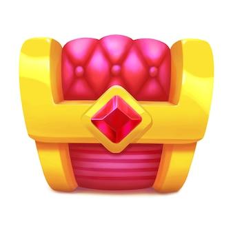 Coffre au trésor en or fermé avec icône de jeu rubis dans un coffre de pirates de style dessin animé avec du velours