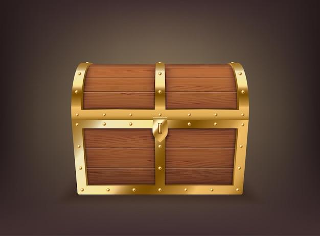 Coffre au trésor réaliste fermé, vieux coffre en bois avec des rayures dorées pour économiser de l'or, de l'argent et de la richesse des pirates. boîte à monnaie vintage isolée. illustration vectorielle 3d