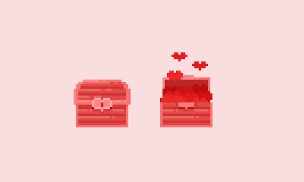 Coffre au trésor rose pixel