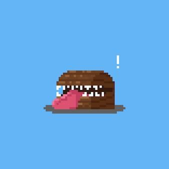 Coffre en bois de pixel art imite le personnage de monstre.