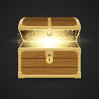 Coffre en bois réaliste ouvert